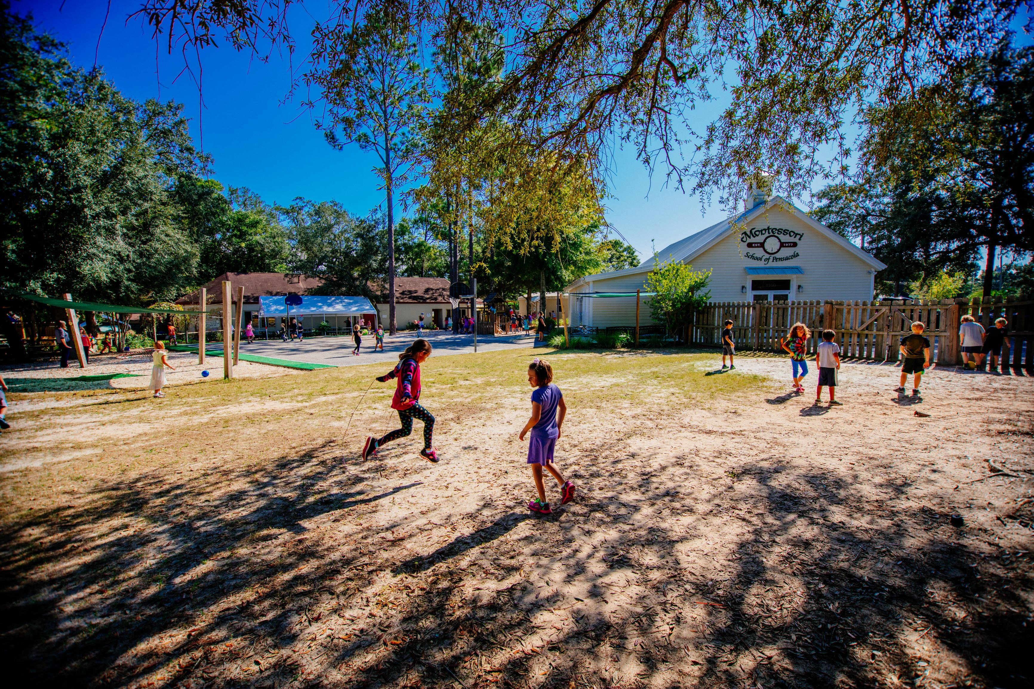 Elementary classes playing outside at the Montessori Drive Campus