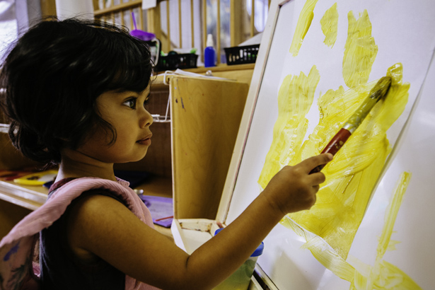 MSP student painting in an extended care class