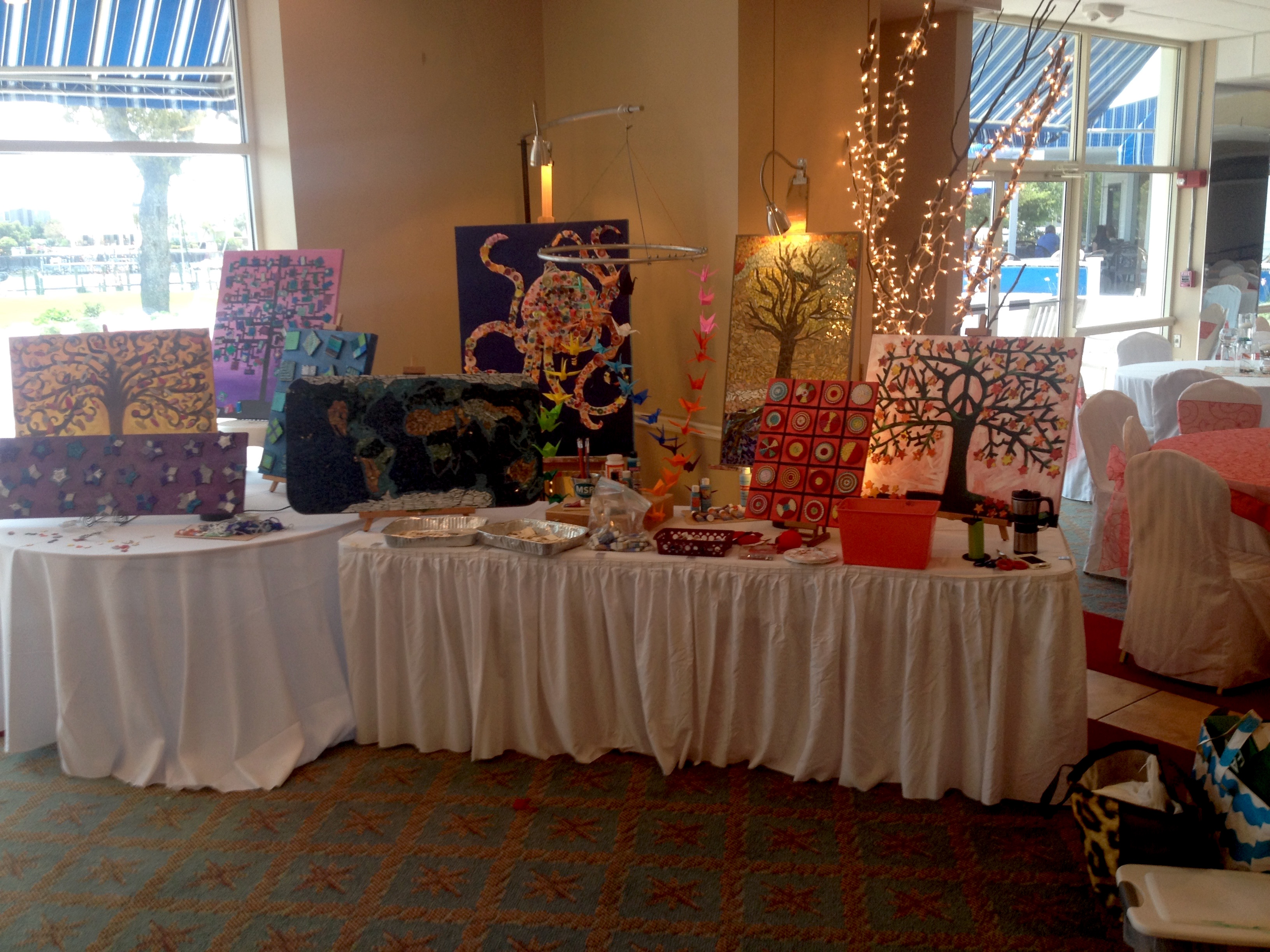 Student artwork displayed at the annual MSP Parent Teacher Organization fundraiser Gala
